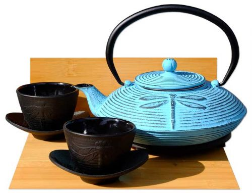 Cast Iron Light Blue  Dragonfly Tea set D - Tetsubin teapot kettle, trivet & cups X2 (1)